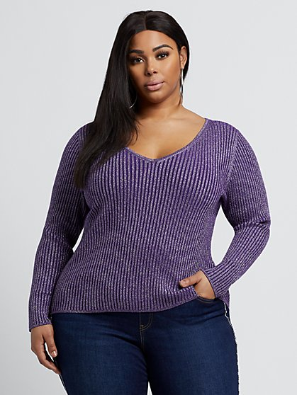Plus Size Maddie Shimmer Sweater - Fashion To Figure