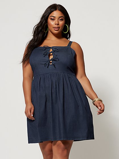 Plus Size Madeira Tie-Detail Denim Flare Dress - Fashion To Figure