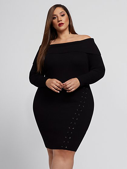 Plus Size Madeleine Lace-Up Sweater Dress - Fashion To Figure