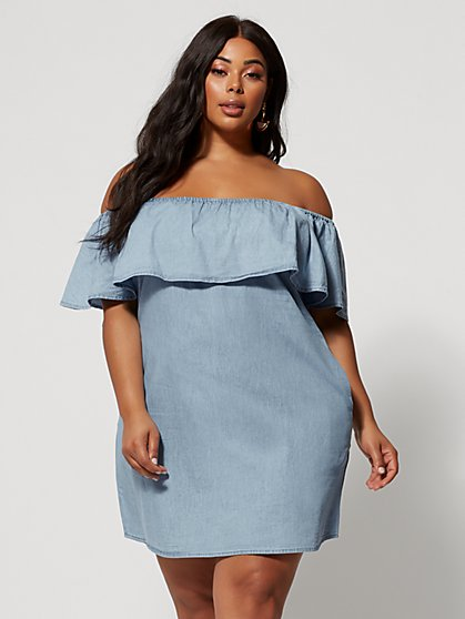 3c8c3fa64e4 Plus Size Madeleine Off Shoulder Denim Dress - Fashion To Figure ...