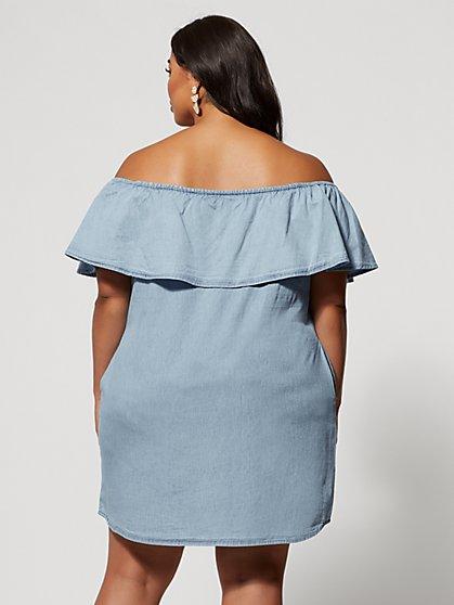 827f0278c12 ... Plus Size Madeleine Off Shoulder Denim Dress - Fashion To Figure ...