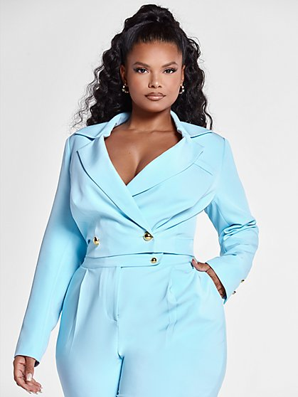 Plus Size Madison Cropped Suit Blazer - Fashion To Figure