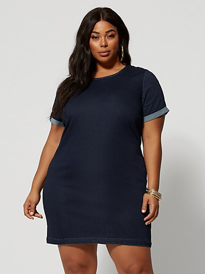 Plus Size Madison Denim Shift Dress - Fashion To Figure