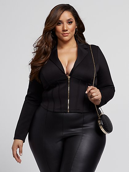Plus Size Mae Zip-Front Corset Blazer - Fashion To Figure