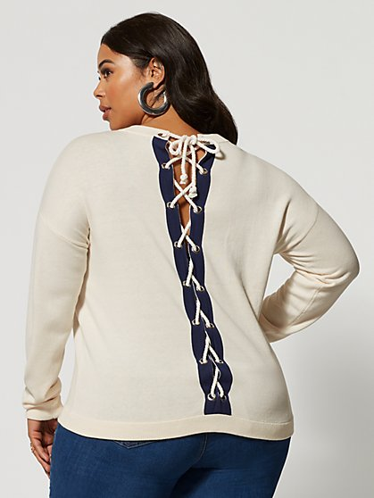Plus Size Maelie Lace-Up Back Sweater - Fashion To Figure