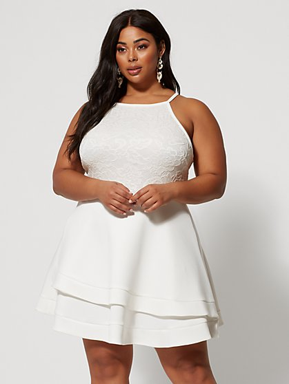 Plus Size Maeve Lace Bodice Flare Dress - Fashion To Figure