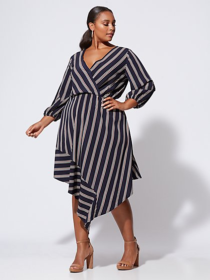Plus Size Maggie Asymmetrical Wrap Dress - Fashion To Figure