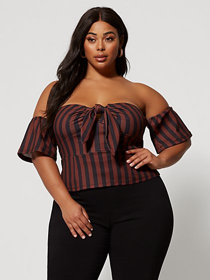 Plus Size Maggie Tie-Front Striped Top - Fashion To Figure