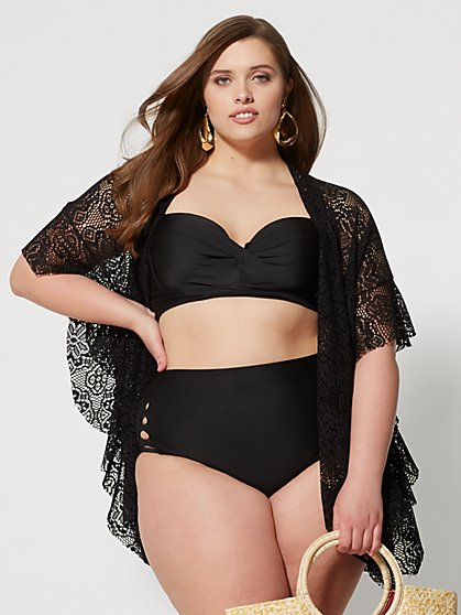 Plus Size Magnolia Black Lace Kimono - Fashion To Figure
