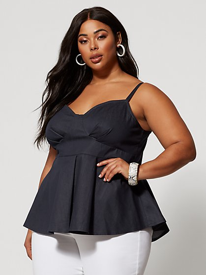 Plus Size Magnolia Bow-Back Peplum Denim Top - Fashion To Figure