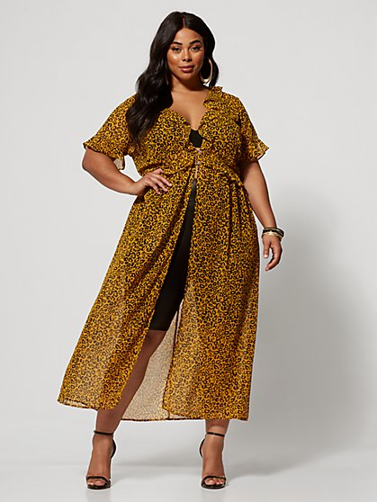 Plus Size Makayla Leopard Print Duster - Fashion To Figure