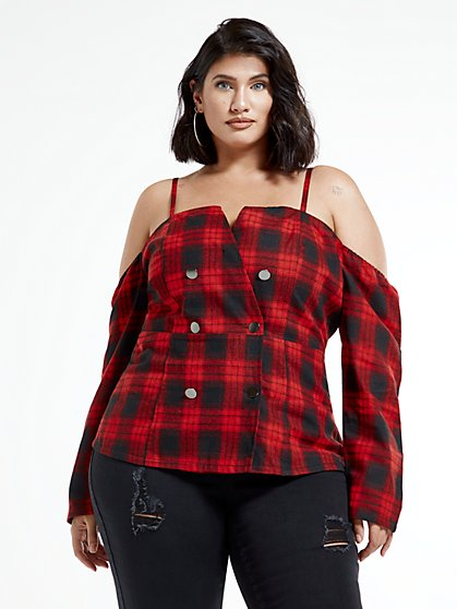 Plus Size Malika Off The Shoulder Plaid Top - Fashion To Figure