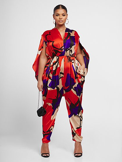 Plus Size Mallory Draped Cape Jumpsuit - Gabrielle Union x FTF - Fashion To Figure