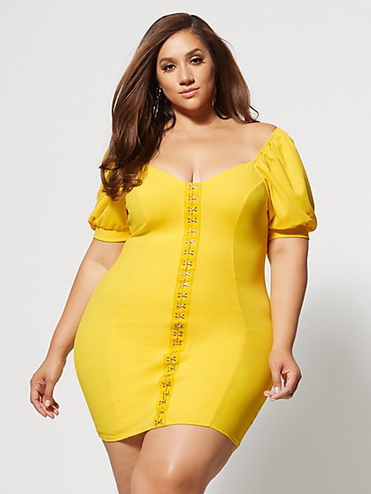 Plus Size Malva Hook Detail Bodycon Dress - Fashion To Figure
