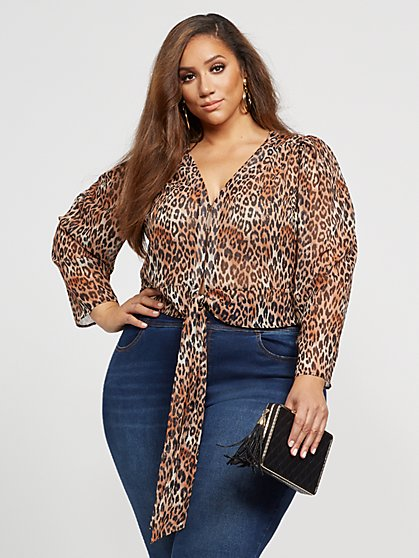 Plus Size Mama Meow - Tie-Front Leopard Top - Fashion To Figure