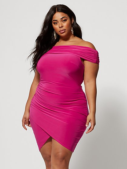 Plus Size Manuella Off Shoulder Bodycon Dress - Fashion To Figure