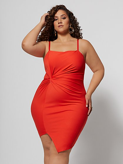 Plus Size Manya Knot-Detail Bodycon Dress - Fashion To Figure