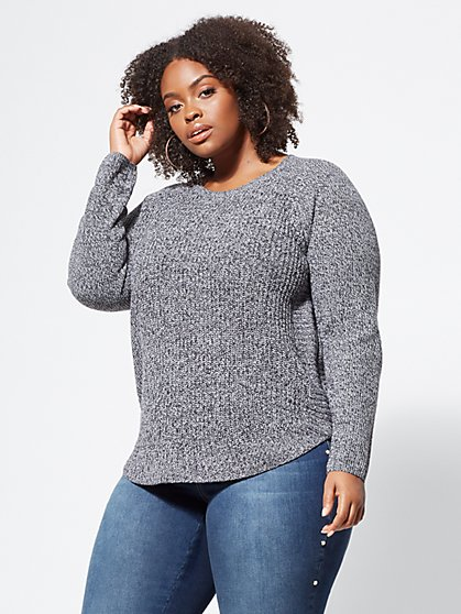 Plus Size Marbled Gracie Side-Zip Sweater - Fashion To Figure