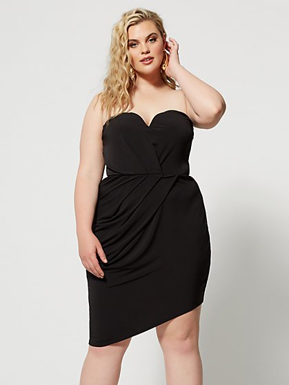Plus Size Marcie Strapless Drape Detail Dress - Fashion To Figure