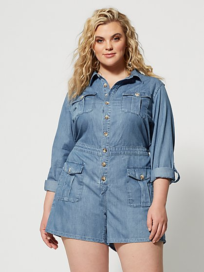 Plus Size Maresa Denim Utility Romper - Fashion To Figure