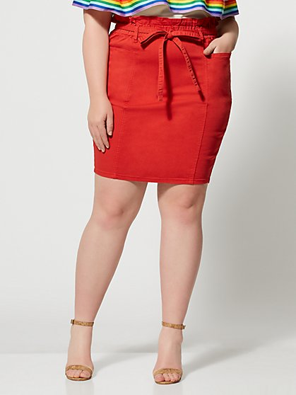 Plus Size Margarita Paper Bag Denim Skirt - Fashion To Figure