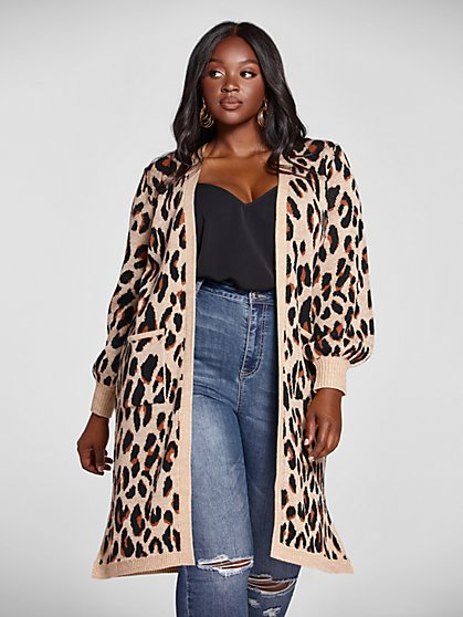Plus Size Marguerite Long Leopard Cardigan Sweater - Fashion To Figure