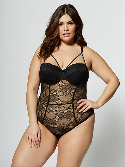 Plus Size Maria Cage-Detail Lace Lingerie Bodysuit - Fashion To Figure