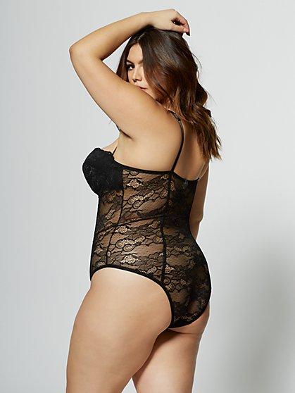 d9d6c78d50 ... Plus Size Maria Cage-Detail Lace Lingerie Bodysuit - Fashion To Figure