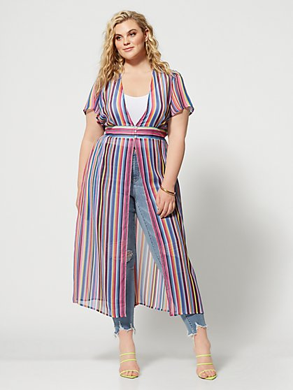 Plus Size Mariabella Stripe Duster - Fashion To Figure