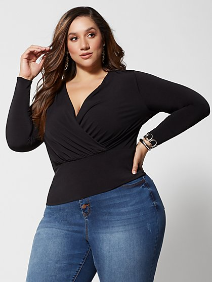 Plus Size Mariah Faux-Wrap Top - Fashion To Figure