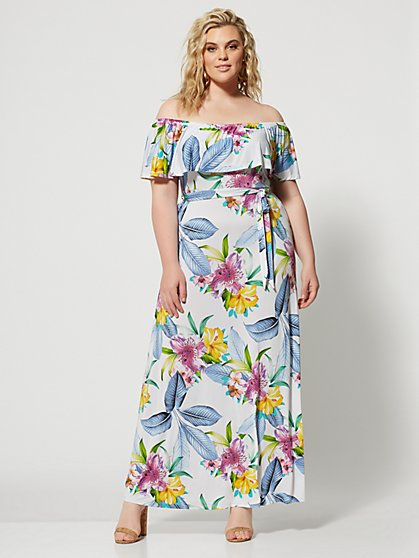 Plus Size Maribel Off Shoulder Maxi Dress - Fashion To Figure
