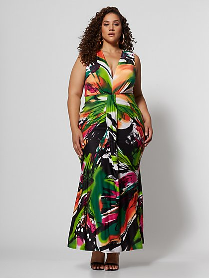 Plus Size Maricel Ruched Maxi Dress - Fashion To Figure