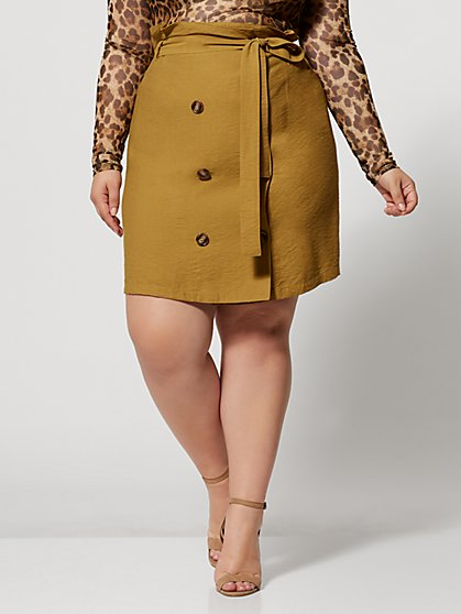 Plus Size Marieka Button Front Khaki Skirt - Fashion To Figure