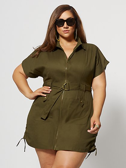 Plus Size Marigold Zip Utility Dress - Fashion To Figure