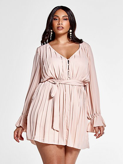 Plus Size Marina Allover Pleated Dress with Tie Belt - Fashion To Figure