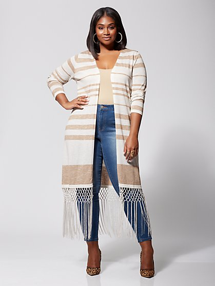 Plus Size Marina Fringe Sweater Duster - Fashion To Figure