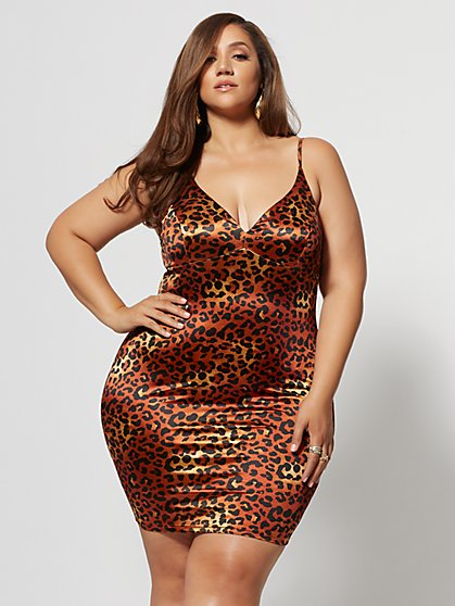Plus Size Marita Satin Leopard Print Dress - Fashion To Figure