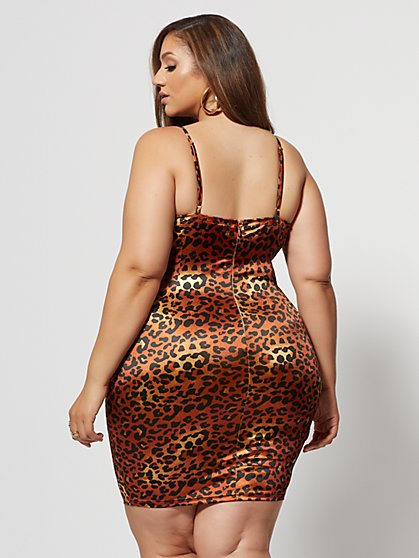 0be2fee0ab7 ... Plus Size Marita Satin Leopard Print Dress - Fashion To Figure ...