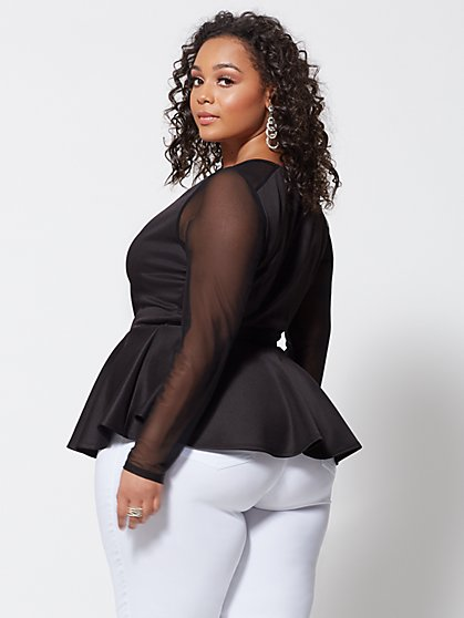 2f70e192f2be9 ... Plus Size Maritza Mesh Detail Peplum Top - Fashion To Figure ...