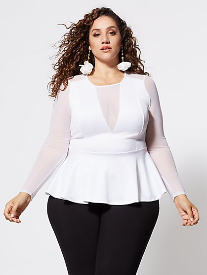 Plus Size Maritza Mesh Detail Peplum Top - Fashion To Figure