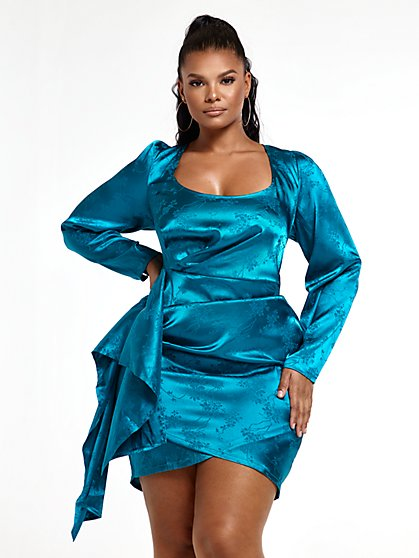 Plus Size Marlena Jacquard Satin Dress - Fashion To Figure