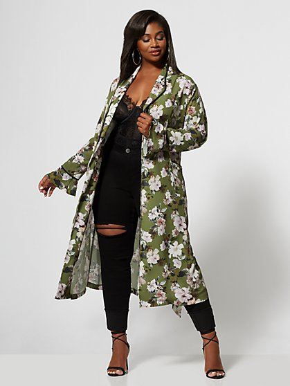 Plus Size Marlowe Floral Duster Jacket - Fashion To Figure