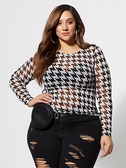 Plus Size Marlowe Houndstooth Mesh Top - Fashion To Figure