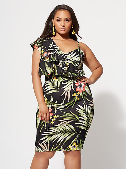 Plus Size Martina Floral Bodycon Dress - Fashion To Figure