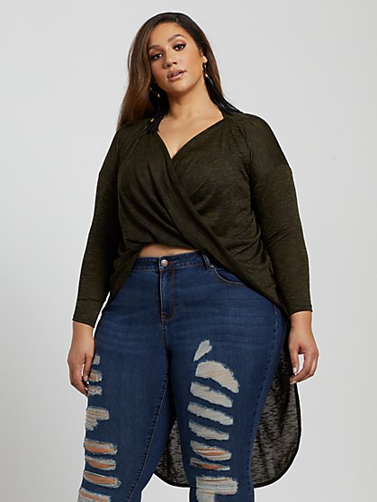 Plus Size Maya High-Low Twist Front Tunic - Fashion To Figure