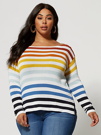 Plus Size Maycee Rainbow Striped Sweater - Fashion To Figure