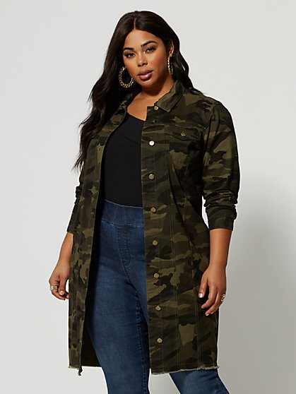 Plus Size McKenzie Long Camo Trucker Jacket - Fashion To Figure