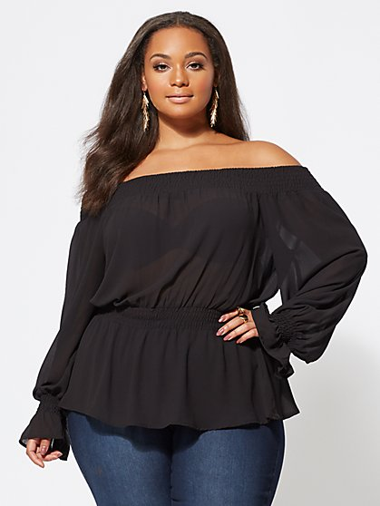 Plus Size McKenzie Off-Shoulder Top - Fashion To Figure