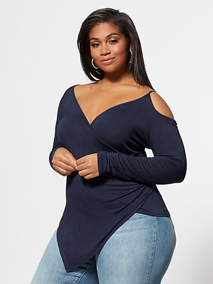 Plus Size Meadow Cold-Shoulder Top - Fashion To Figure