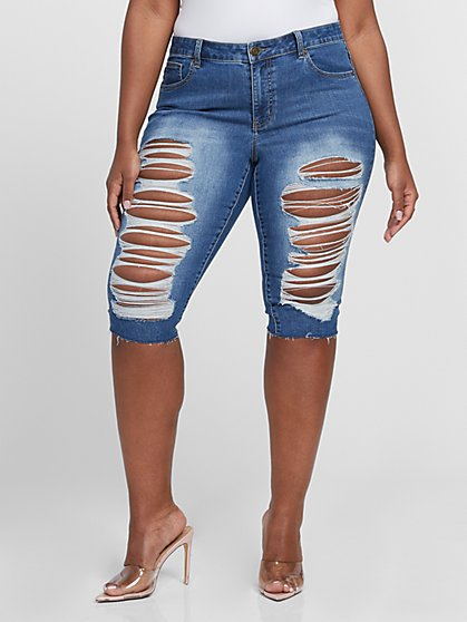 Plus Size Medium Wash Destructed Bermuda Shorts - Fashion To Figure